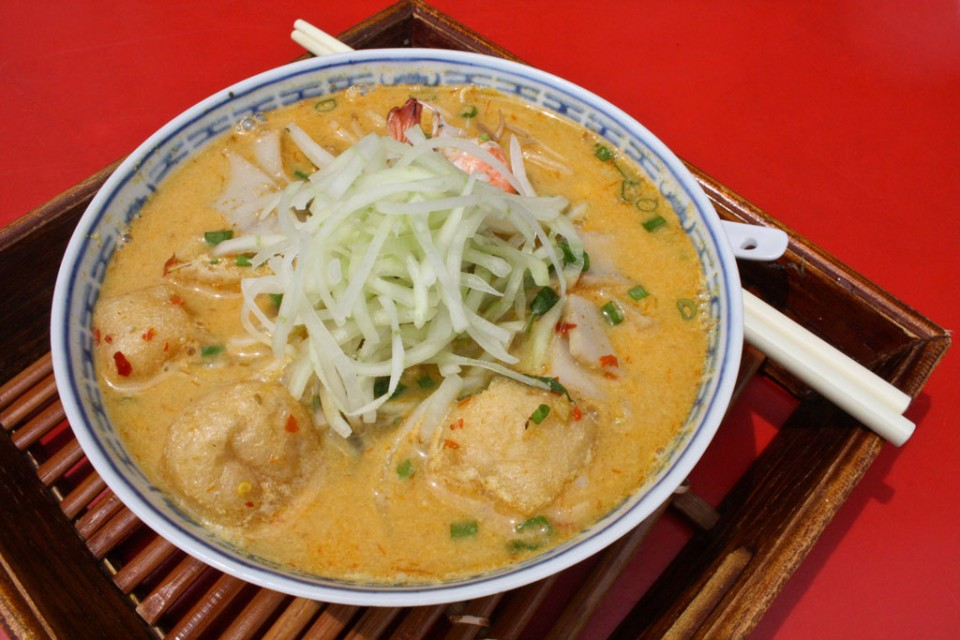 Laksa noodles beloved se asian street food temple of thai food malaysian nyonya laksa forumfinder Choice Image