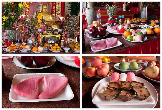Chinese New Year Food Offerings at the Temple