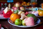 Chinese New Year Offering of Steamed Cakes and Fruits