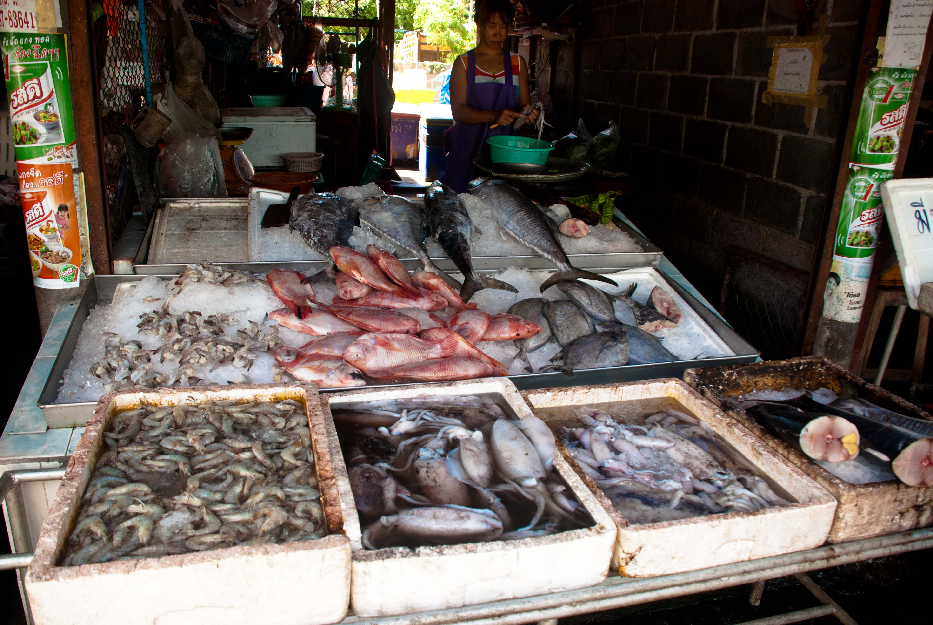 Morning visit to a thai food market part 3 seafood for Phil s fish market eatery