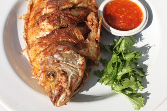 Thai Fried Fish with Spicy Seafood Sauce