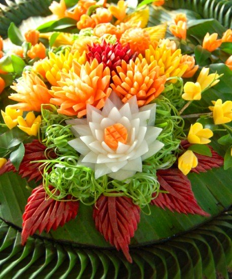 Elaborate Carved Vegetable Kratong