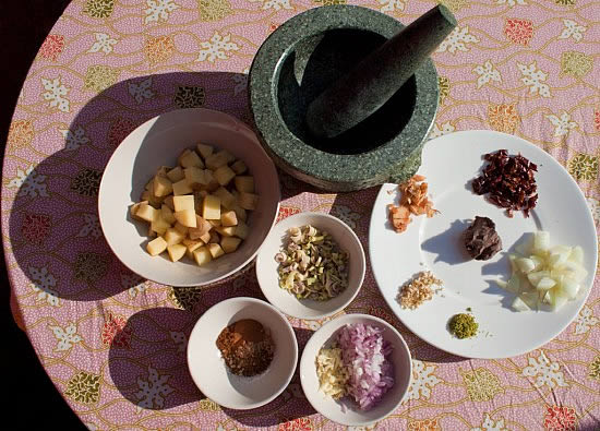 Massaman Curry and Curry Paste ingredients