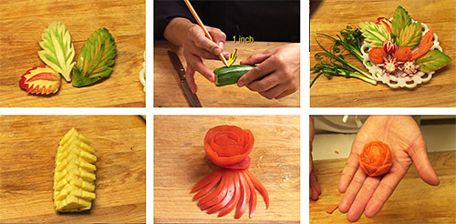 Carved vegetable plate garnishes for your holiday table