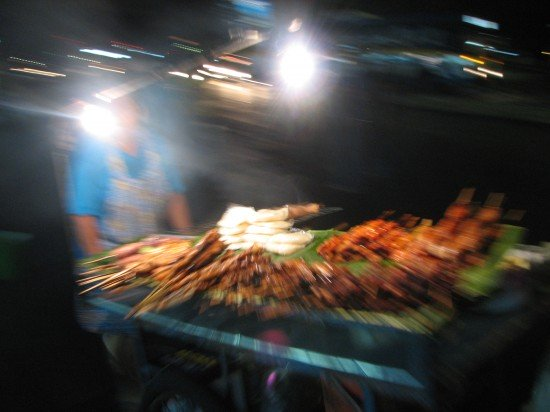 Impression of the street: Satay vendor at night, Mae Sot, Thailand, 2005