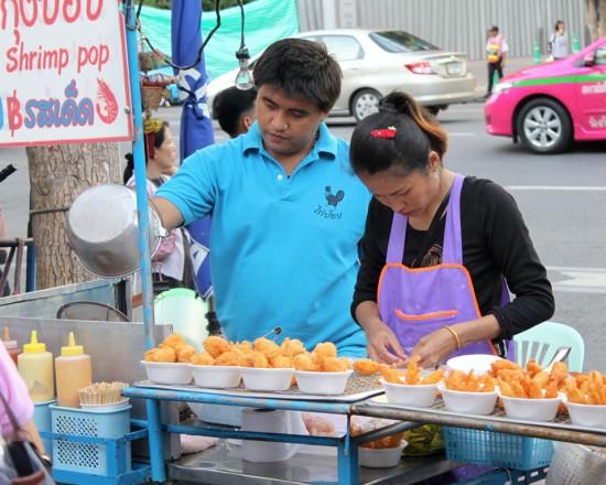 Bangkok street vendor selling 'Shrimp Pop'