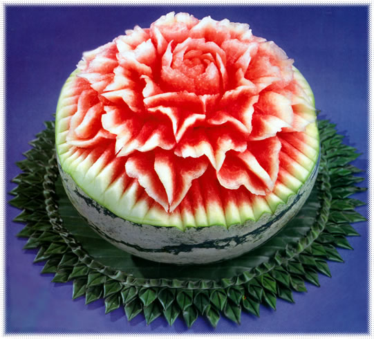 Floral watermelon carving pattern temple of thai
