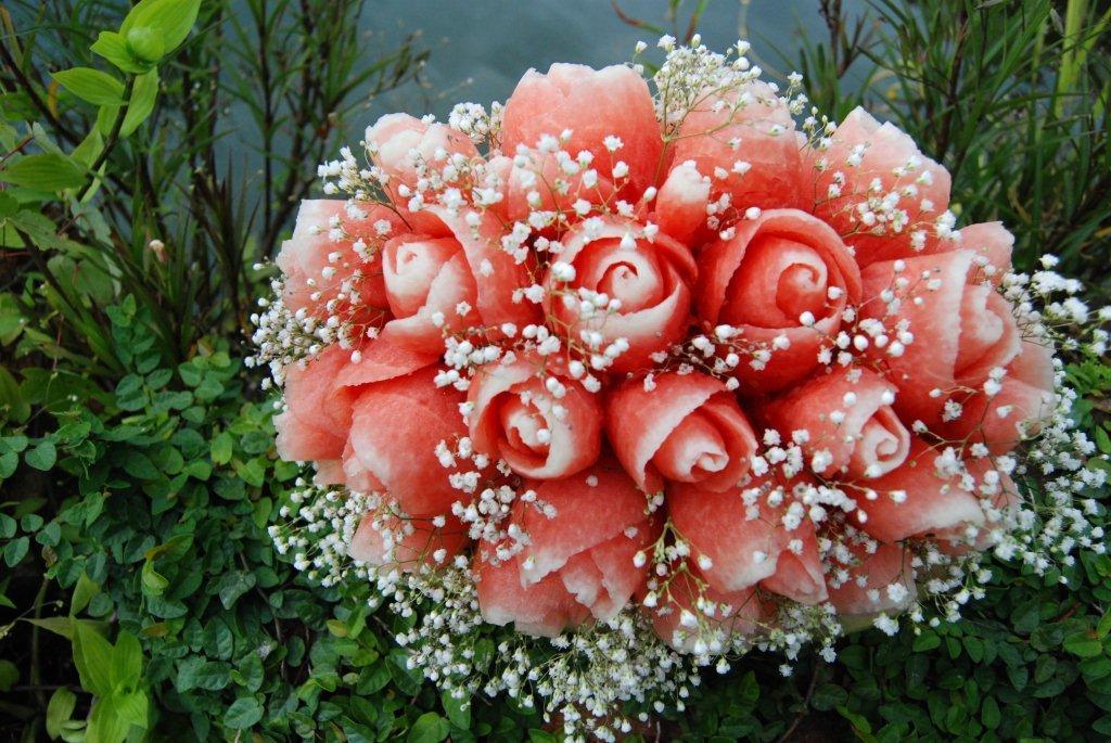 Carved Watermelon Floral Wedding Bouquet