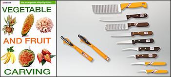 Kom Kom 11pc Garnishing Set Step By Step Fruit Carving Book