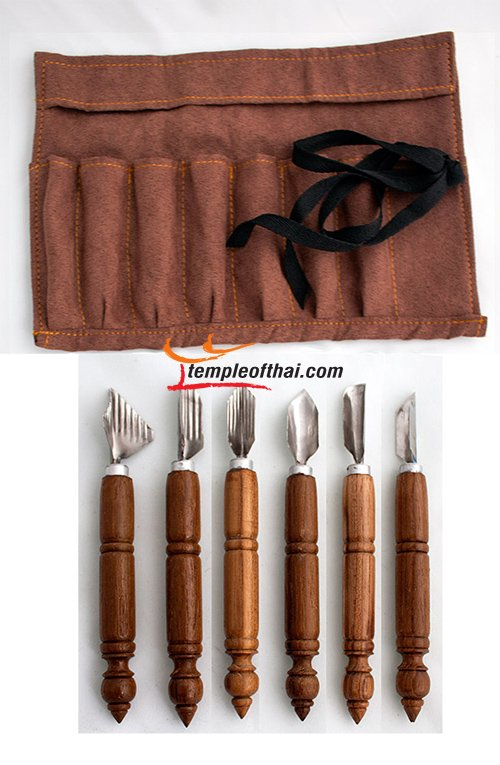 Vegetable fruit art carving tools in roll bag set of