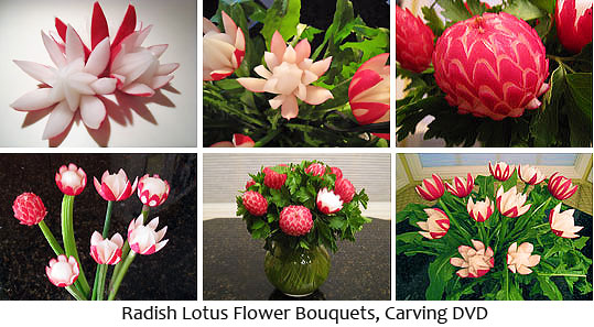 Radish Lotus Flowers Bouquet Carving