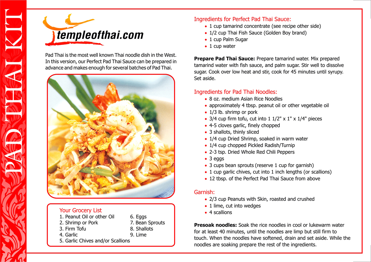 Perfect Pad Thai Ingredients Kit With Wok Recipe Card Temple Of Thai