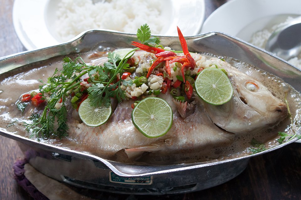 style sweet and sour steamed fish with mix sweet and sour fish thai ...